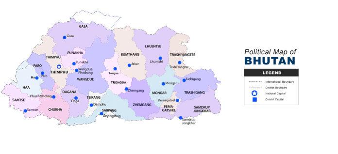 Bhutan Map - Political