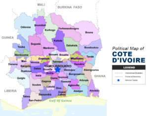 Cote d'Ivoire Map - Political