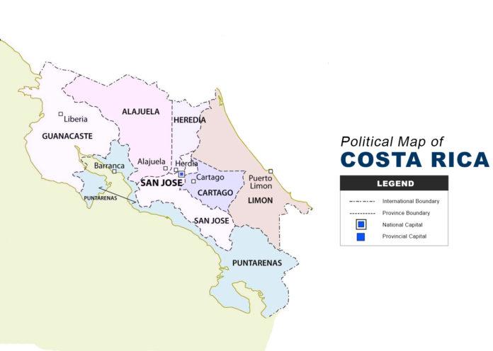Costa Rica Map - Political