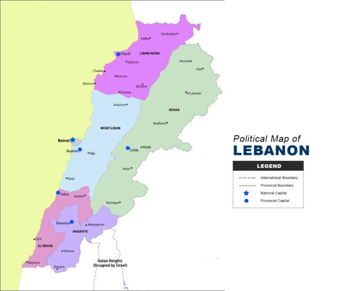 LEBANON MAP - POLITICAL