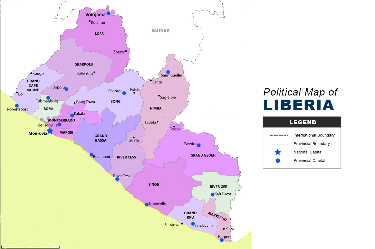 Picture of: Liberia Map Political The Maps Company