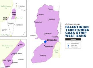 PALESTINIAN TERRITORIES GAZA STRIP WEST BANK map political