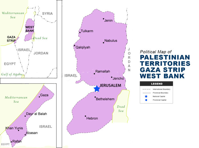 PALESTINIAN TERRITORIES GAZA STRIP WEST BANK map political