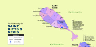 Saint Kitts And Nevis Map - Political