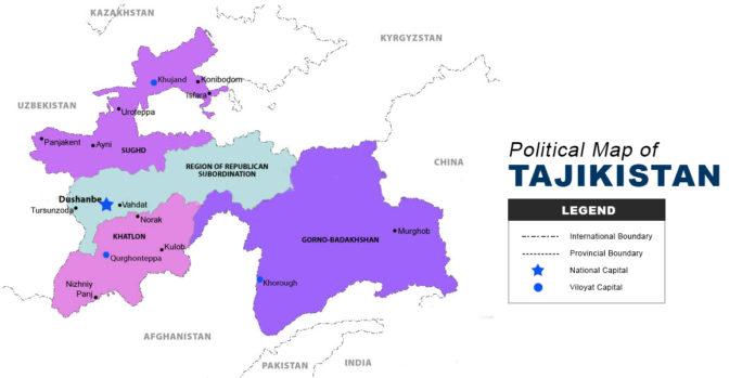 Tajikistan Map - Political