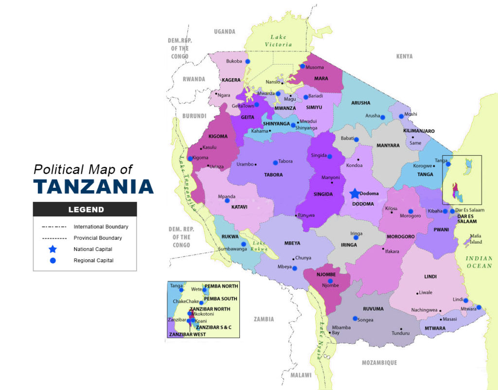 Picture of: Tanzania Map Political The Maps Company